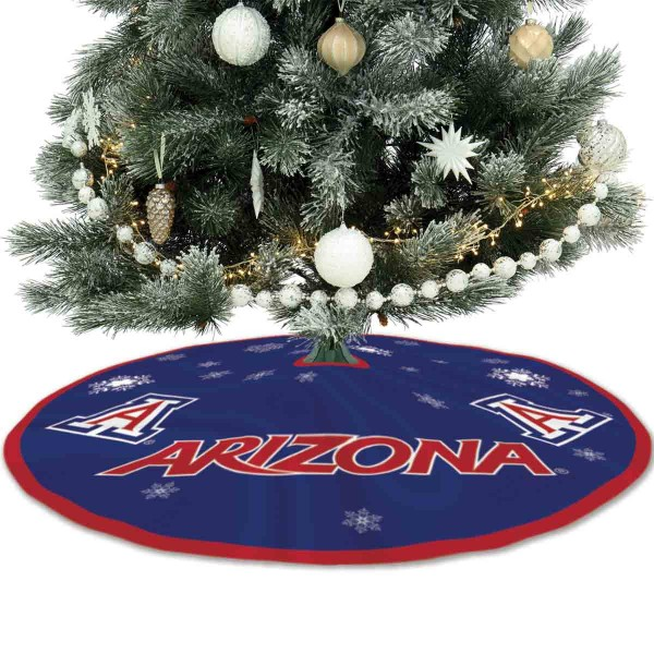 University of Arizona Wildcats Christmas Tree Skirt measures 56 inches circle, is made of 150d polyester, has a contrasting color border. Each college xmas tree skirt includes Officially Licensed Logos and Insignias.