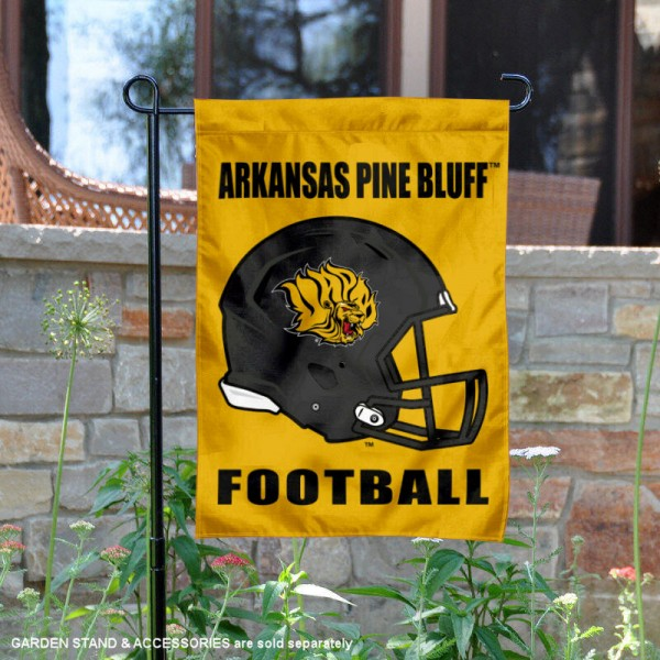 University of Arkansas at Pine Bluff Football Helmet Garden Banner is 13x18 inches in size, is made of 2-layer polyester, screen printed University of Arkansas at Pine Bluff athletic logos and lettering. Available with Same Day Express Shipping, Our University of Arkansas at Pine Bluff Football Helmet Garden Banner is officially licensed and approved by University of Arkansas at Pine Bluff and the NCAA.