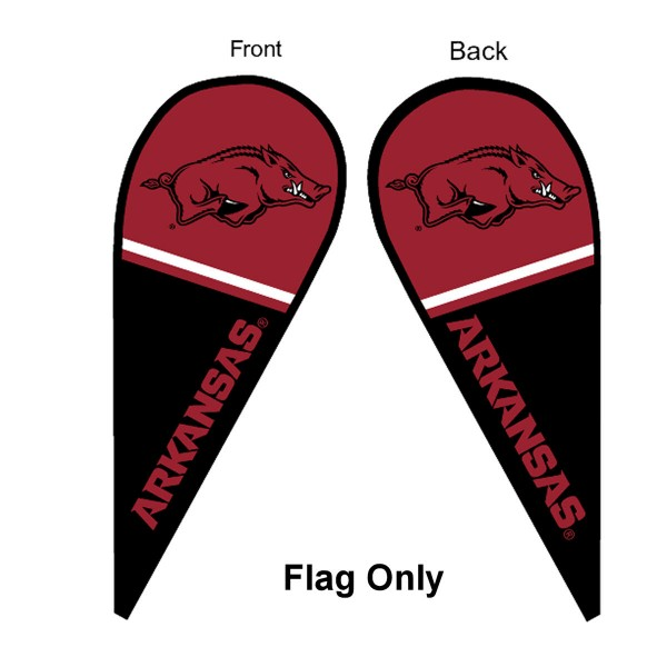 University of Arkansas Feather Flag is 9 feet by 3 feet and is a tall 10' when fully assembled. The feather flag is made of thick polyester and is readable and viewable on both sides. The screen printed Arkansas Razorbacks double sided logos are NCAA Officially Licensed and is Team and University approved.