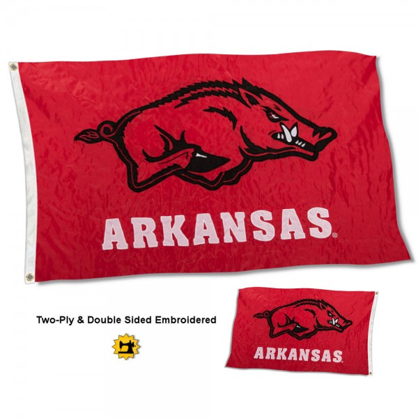 University of Arkansas Flag measures 3'x5' in size, is made of 2 layer embroidered 100% nylon, has quadruple stitched fly ends for durability, and is viewable and readable correctly on both sides. Our University of Arkansas Flag is officially licensed by the university, school, and the NCAA