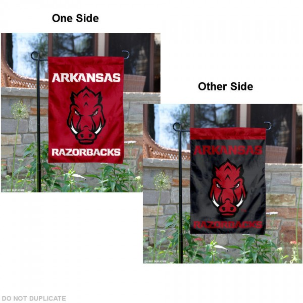 University of Arkansas Garden Flag is 13x18 inches in size, is made of 2-layer polyester, has screen printed University of Arkansas athletic logos and lettering. Available with Same Day Express Shipping, our garden flag is officially licensed and approved by the College and NCAA.