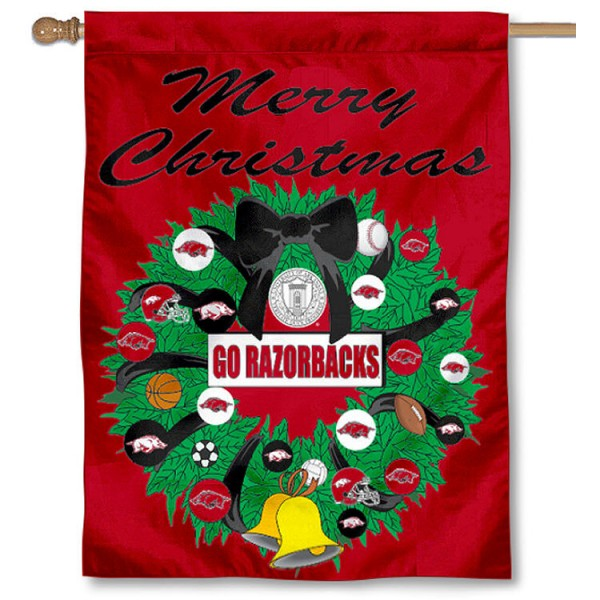 University of Arkansas Holiday Flag is a decorative house flag, 30x40 inches, made of 100% polyester, Holiday NCAA team insignias, and has a top pole sleeve to hang vertically. Our University of Arkansas Holiday Flag is officially licensed by the selected university and the NCAA.