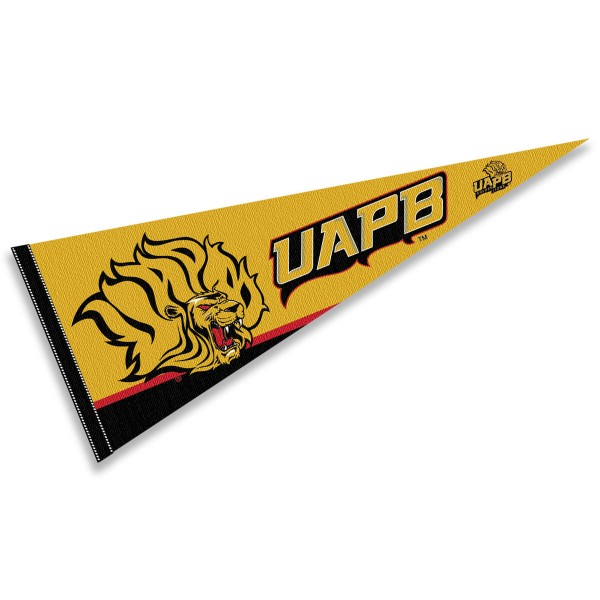 University of Arkansas Pine Bluff Decorations consists of our full size pennant which measures 12x30 inches, is constructed of felt, single sided imprinted, and offers a pennant sleeve for insertion of a pennant stick, if desired. These University of Arkansas Pine Bluff Decorations are Officially Licensed by the selected University and the NCAA.