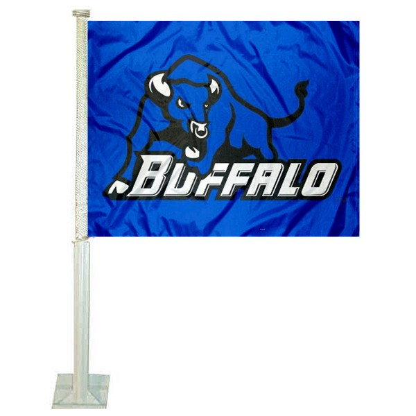 University of Buffalo Car Window Flag measures 12x15 inches, is constructed of sturdy 2 ply polyester, and has dye sublimated school logos which are readable and viewable correctly on both sides. University of Buffalo Car Window Flag is officially licensed by the NCAA and selected university.