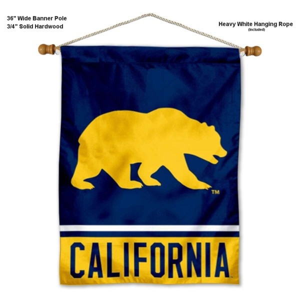 """University of California Bears Wall Banner is constructed of polyester material, measures a large 30""""x40"""", offers screen printed athletic logos, and includes a sturdy 3/4"""" diameter and 36"""" wide banner pole and hanging cord. Our University of California Bears Wall Banner is Officially Licensed by the selected college and NCAA."""