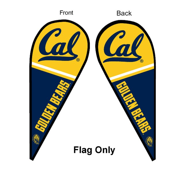 University of California Feather Flag is 9 feet by 3 feet and is a tall 10' when fully assembled. The feather flag is made of thick polyester and is readable and viewable on both sides. The screen printed Cal Berkeley Golden Bears double sided logos are NCAA Officially Licensed and is Team and University approved.