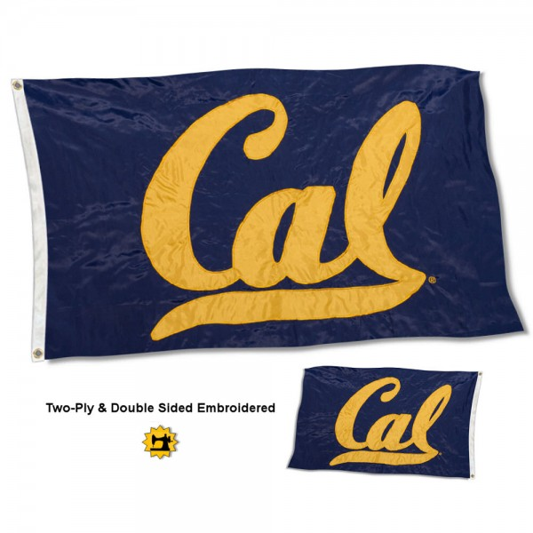 University of California Flag measures 3'x5' in size, is made of 2 layer embroidered 100% nylon, has quadruple stitched fly ends for durability, and is viewable and readable correctly on both sides. Our University of California Flag is officially licensed by the university, school, and the NCAA