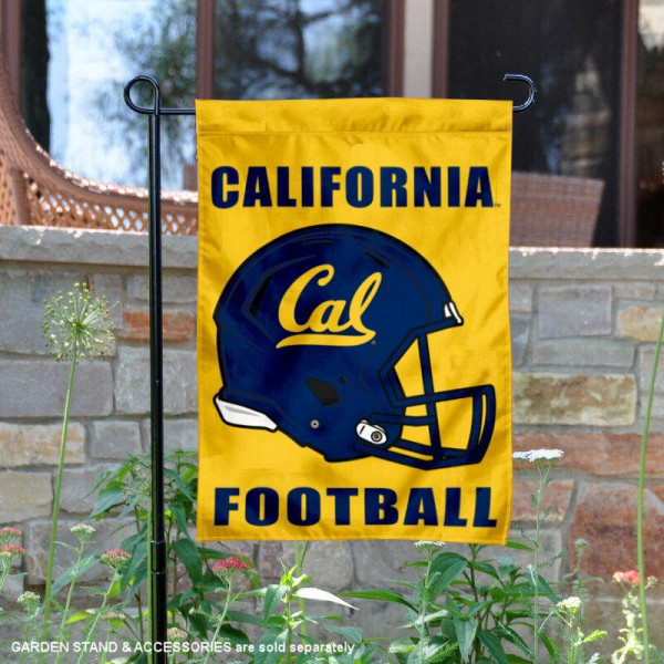 University of California Football Helmet Garden Banner is 13x18 inches in size, is made of 2-layer polyester, screen printed University of California athletic logos and lettering. Available with Same Day Express Shipping, Our University of California Football Helmet Garden Banner is officially licensed and approved by University of California and the NCAA.