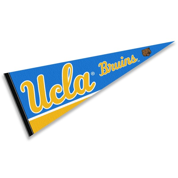 University of California LA Pennant consists of our full size sports pennant which measures 12x30 inches, is constructed of felt, is single sided imprinted, and offers a pennant sleeve for insertion of a pennant stick, if desired. This University of California LA Felt Pennant is officially licensed by the selected university and the NCAA.