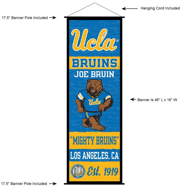 "This ""ready to hang"" University of California Los Angeles Decor and Banner is made of polyester material, measures a large 17.5"" x 48"", offers screen printed athletic logos, and includes both top and bottom 3/4"" diameter plastic banner poles and hanging cord. Our University of California Los Angeles D�cor and Banner is Officially Licensed by the selected college and NCAA."