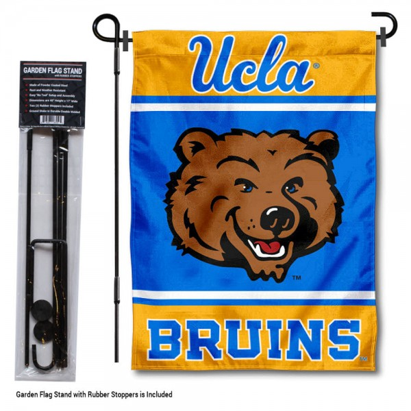 """University of California Los Angeles Garden Flag and Stand kit includes our 13""""x18"""" garden banner which is made of 2 ply poly with liner and has screen printed licensed logos. Also, a 40""""x17"""" inch garden flag stand is included so your University of California Los Angeles Garden Flag and Stand is ready to be displayed with no tools needed for setup. Fast Overnight Shipping is offered and the flag is Officially Licensed and Approved by the selected team."""