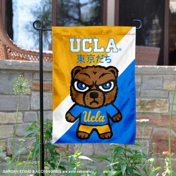 University of California Los Angeles Tokyodachi Mascot Yard Flag is 13x18 inches in size, is made of double layer polyester, screen printed university athletic logos and lettering, and is readable and viewable correctly on both sides. Available same day shipping, our University of California Los Angeles Tokyodachi Mascot Yard Flag is officially licensed and approved by the university and the NCAA.
