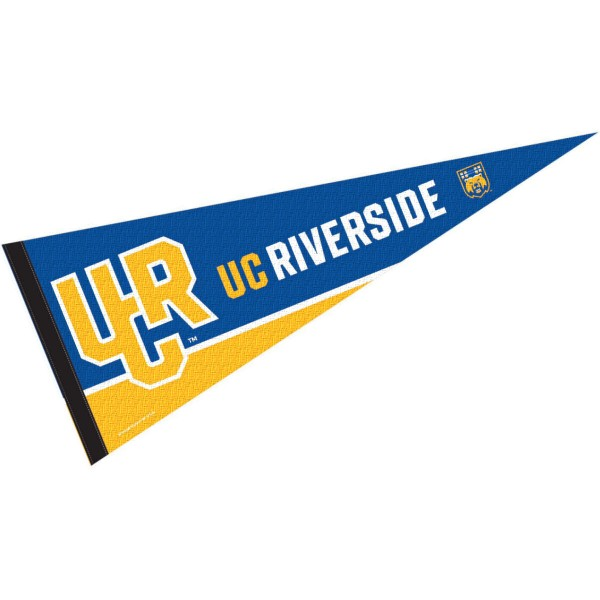 University of California Riverside Decorations consists of our full size pennant which measures 12x30 inches, is constructed of felt, single sided imprinted, and offers a pennant sleeve for insertion of a pennant stick, if desired. These University of California Riverside Decorations are Officially Licensed by the selected University and the NCAA.