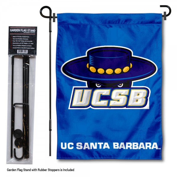 "University of California Santa Barbara Garden Flag and Stand kit includes our 13""x18"" garden banner which is made of 2 ply poly with liner and has screen printed licensed logos. Also, a 40""x17"" inch garden flag stand is included so your University of California Santa Barbara Garden Flag and Stand is ready to be displayed with no tools needed for setup. Fast Overnight Shipping is offered and the flag is Officially Licensed and Approved by the selected team."