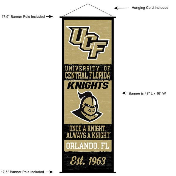 "This ""ready to hang"" University of Central Florida Decor and Banner is made of polyester material, measures a large 17.5"" x 48"", offers screen printed athletic logos, and includes both top and bottom 3/4"" diameter plastic banner poles and hanging cord. Our University of Central Florida D�cor and Banner is Officially Licensed by the selected college and NCAA."