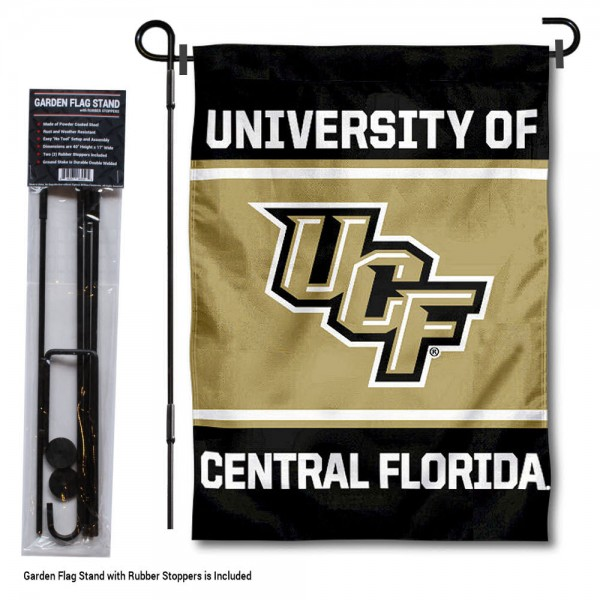 "University of Central Florida Garden Flag and Stand kit includes our 13""x18"" garden banner which is made of 2 ply poly with liner and has screen printed licensed logos. Also, a 40""x17"" inch garden flag stand is included so your University of Central Florida Garden Flag and Stand is ready to be displayed with no tools needed for setup. Fast Overnight Shipping is offered and the flag is Officially Licensed and Approved by the selected team."