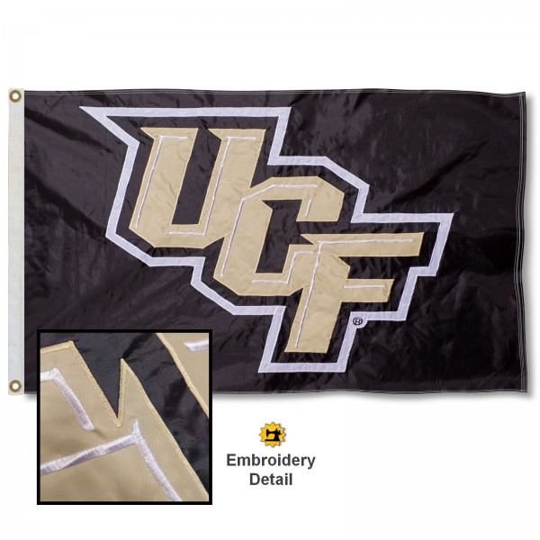 University of Central Florida Nylon Embroidered Flag measures 3'x5', is made of 100% nylon, has quadruple flyends, two metal grommets, and has double sided appliqued and embroidered University logos. These University of Central Florida 3x5 Flags are officially licensed by the selected university and the NCAA.