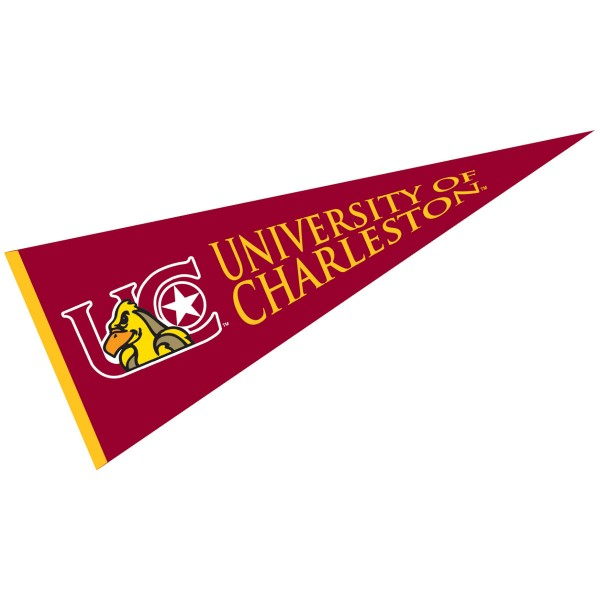 University of Charleston Pennant measures 12x30 inches, is made of wool, and the School logos are printed with raised lettering. Our University of Charleston Pennant is Officially Licensed and Approved by the University or Institution.