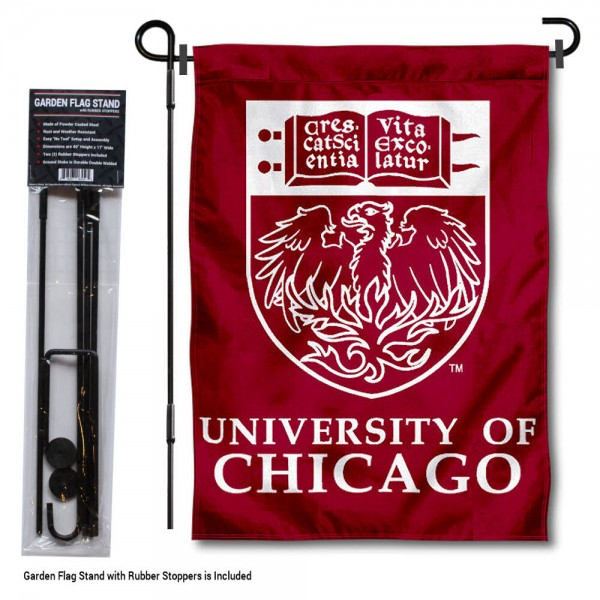 "University of Chicago Garden Flag and Stand kit includes our 13""x18"" garden banner which is made of 2 ply poly with liner and has screen printed licensed logos. Also, a 40""x17"" inch garden flag stand is included so your University of Chicago Garden Flag and Stand is ready to be displayed with no tools needed for setup. Fast Overnight Shipping is offered and the flag is Officially Licensed and Approved by the selected team."