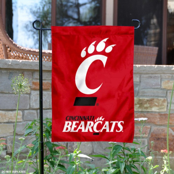 University of Cincinnati Bearcats Garden Flag is 13x18 inches in size, is made of 2-layer polyester, screen printed University of Cincinnati athletic logos and lettering. Available with Same Day Express Shipping, Our University of Cincinnati Bearcats Garden Flag is officially licensed and approved by University of Cincinnati and the NCAA.
