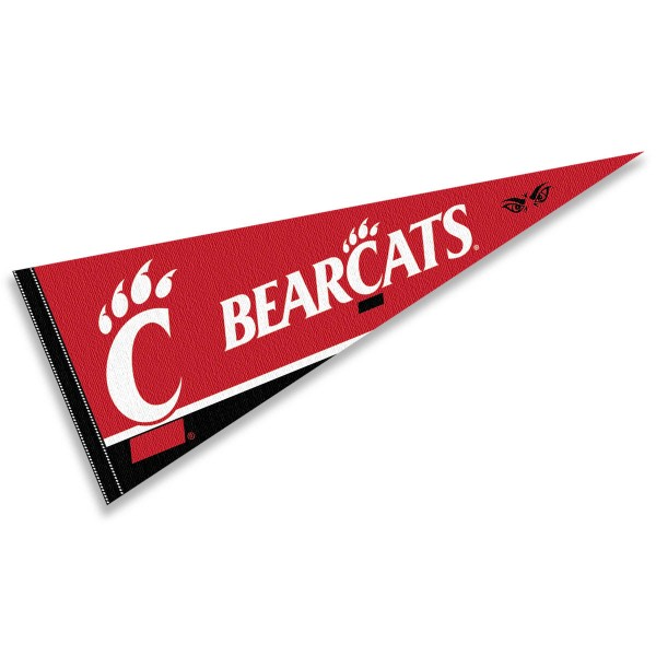 University of Cincinnati Felt Pennant consists of our full size sports pennant which measures 12x30 inches, is constructed of felt, is single sided imprinted, and offers a pennant sleeve for insertion of a pennant stick, if desired. This UC Bearcats Felt Pennant is officially licensed by the selected university and the NCAA.