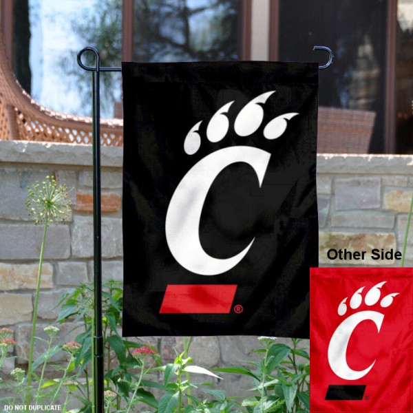 University of Cincinnati Garden Flag is made of 100% polyester, measures 13x18 inches, and has double sided screen printed NCAA School insignias and lettering. The University of Cincinnati Garden Flag is approved by University of Cincinnati and NCAA and university garden flags are great for your entranceway, garden, yard, mailbox, or window.
