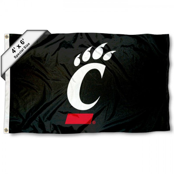University of Cincinnati Large 4x6 Flag measures 4x6 feet, is made thick woven polyester, has quadruple stitched flyends, two metal grommets, and offers screen printed NCAA University of Cincinnati Large athletic logos and insignias. Our University of Cincinnati Large 4x6 Flag is officially licensed by University of Cincinnati and the NCAA.