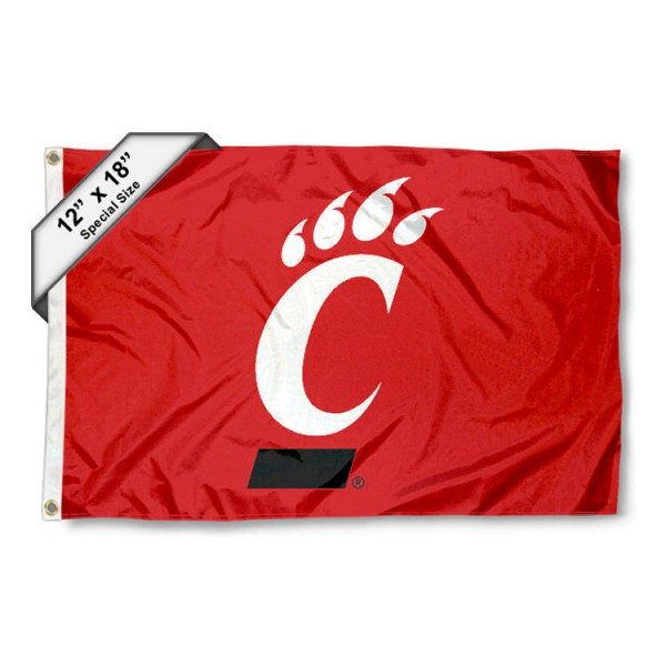 University of Cincinnati Mini Flag is 12x18 inches, polyester, offers quadruple stitched flyends for durability, has two metal grommets, and is double sided. Our mini flags for University of Cincinnati are licensed by the university and NCAA and can be used as a boat flag, motorcycle flag, golf cart flag, or ATV flag.