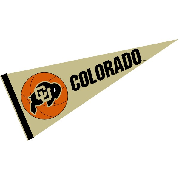 Colorado CU Buffaloes Basketball Pennant consists of our full size sports pennant which measures 12x30 inches, is constructed of felt, is single sided imprinted, and offers a pennant sleeve for insertion of a pennant stick, if desired. This Colorado CU Buffaloes Pennant Decorations is Officially Licensed by the selected university and the NCAA.