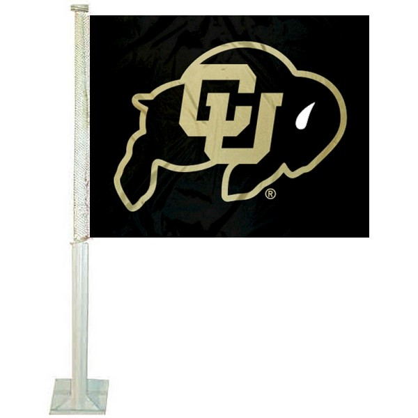 Colorado CU Buffaloes Car Window Flag measures 12x15 inches, is constructed of sturdy 2 ply polyester, and has screen printed school logos which are readable and viewable correctly on both sides. Colorado CU Buffaloes Car Window Flag is officially licensed by the NCAA and selected university.