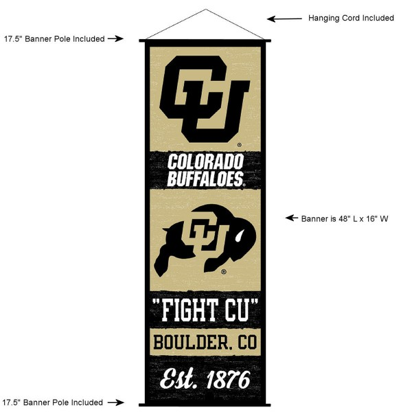 "This ""ready to hang"" University of Colorado Decor and Banner is made of polyester material, measures a large 17.5"" x 48"", offers screen printed athletic logos, and includes both top and bottom 3/4"" diameter plastic banner poles and hanging cord. Our University of Colorado D�cor and Banner is Officially Licensed by the selected college and NCAA."
