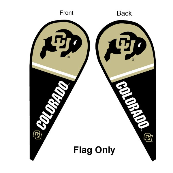 University of Colorado Feather Flag is 9 feet by 3 feet and is a tall 10' when fully assembled. The feather flag is made of thick polyester and is readable and viewable on both sides. The screen printed Colorado Buffaloes double sided logos are NCAA Officially Licensed and is Team and University approved.
