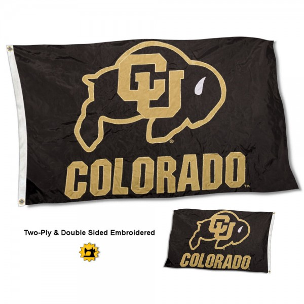 University of Colorado Flag measures 3'x5' in size, is made of 2 layer embroidered 100% nylon, has quadruple stitched fly ends for durability, and is viewable and readable correctly on both sides. Our University of Colorado Flag is officially licensed by the university, school, and the NCAA