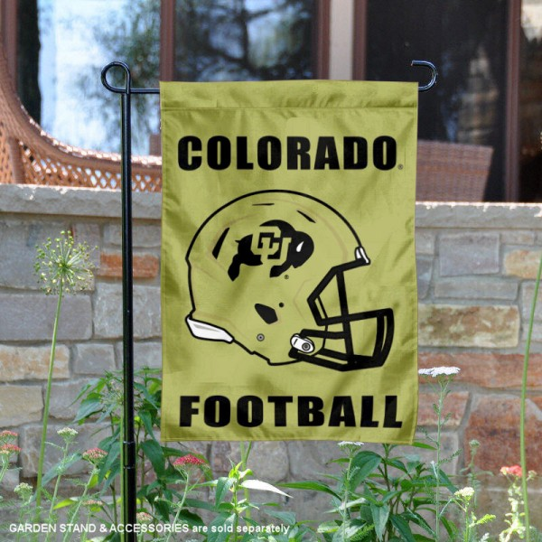 University of Colorado Football Helmet Garden Banner is 13x18 inches in size, is made of 2-layer polyester, screen printed University of Colorado athletic logos and lettering. Available with Same Day Express Shipping, Our University of Colorado Football Helmet Garden Banner is officially licensed and approved by University of Colorado and the NCAA.