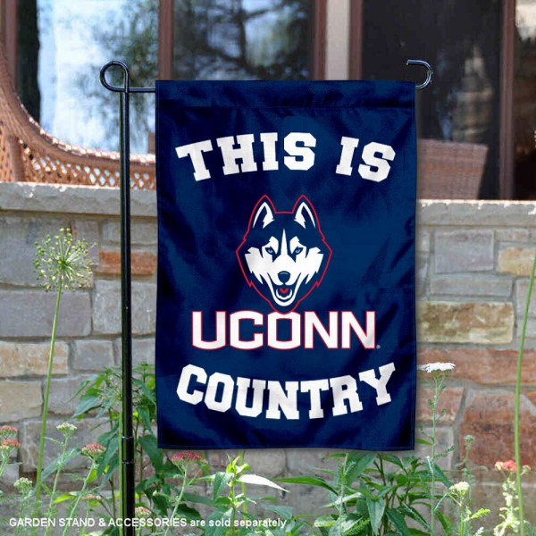 University of Connecticut Country Garden Flag is 13x18 inches in size, is made of 2-layer polyester, screen printed university athletic logos and lettering, and is readable and viewable correctly on both sides. Available same day shipping, our University of Connecticut Country Garden Flag is officially licensed and approved by the university and the NCAA.