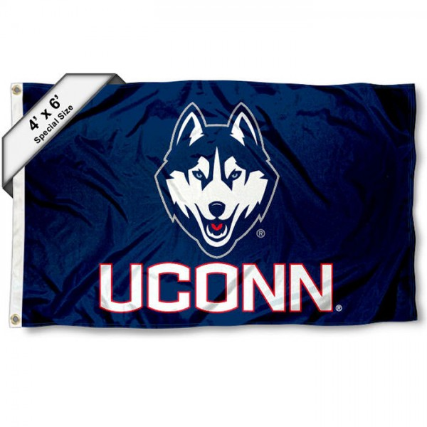 University of Connecticut Large 4x6 Flag measures 4x6 feet, is made thick woven polyester, has quadruple stitched flyends, two metal grommets, and offers screen printed NCAA University of Connecticut Large athletic logos and insignias. Our University of Connecticut Large 4x6 Flag is officially licensed by University of Connecticut and the NCAA.