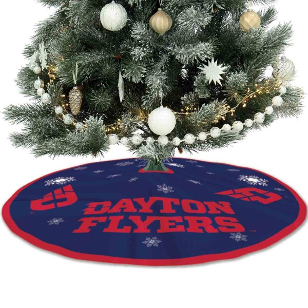 University of Dayton Flyers Christmas Tree Skirt measures 56 inches circle, is made of 150d polyester, has a contrasting color border. Each college xmas tree skirt includes Officially Licensed Logos and Insignias.