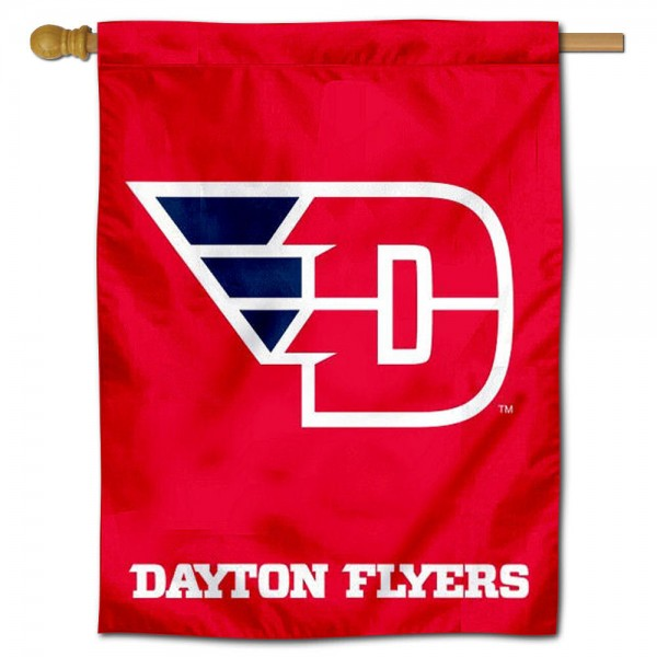 """University of Dayton House Flag is constructed of polyester material, is a vertical house flag, measures 30""""x40"""", offers screen printed athletic insignias, and has a top pole sleeve to hang vertically. Our University of Dayton House Flag is Officially Licensed by University of Dayton and NCAA."""