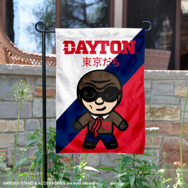 University of Dayton Tokyodachi Mascot Yard Flag is 13x18 inches in size, is made of double layer polyester, screen printed university athletic logos and lettering, and is readable and viewable correctly on both sides. Available same day shipping, our University of Dayton Tokyodachi Mascot Yard Flag is officially licensed and approved by the university and the NCAA.