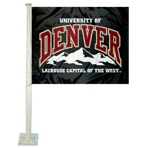 University of Denver Car Window Flag measures 12x15 inches, is constructed of sturdy 2 ply polyester, and has dye sublimated school logos which are readable and viewable correctly on both sides. University of Denver Car Window Flag is officially licensed by the NCAA and selected university.