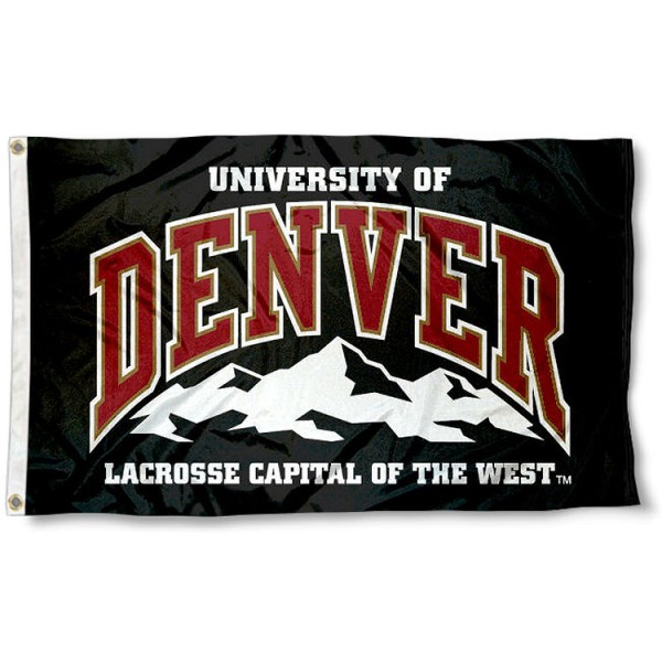University of Denver Flag measures 3'x5', is made of 100% poly, has quadruple stitched sewing, two metal grommets, and has double sided DU Pioneers logos. Our DU Pioneers Logo Outdoor Flag is officially licensed by the selected university and the NCAA.