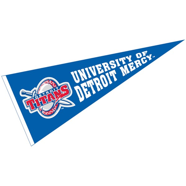University of Detroit Mercy Pennant measures 12x30 inches, is made of wool, and the School logos are printed with raised lettering. Our University of Detroit Mercy Pennant is Officially Licensed and Approved by the University or Institution.