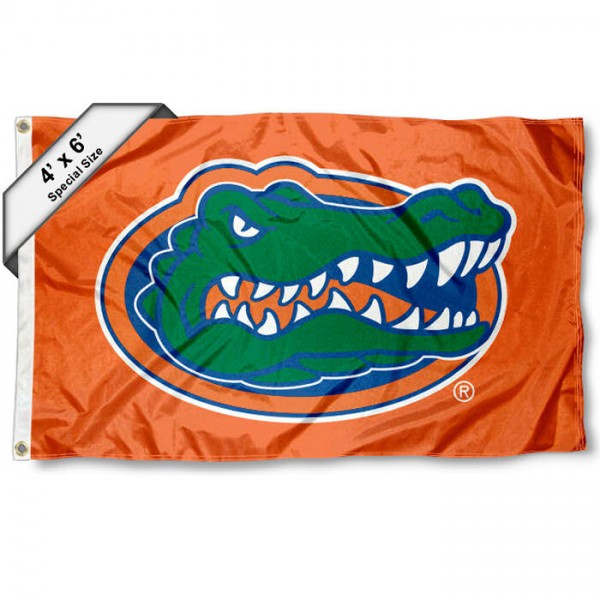 University of Florida 4x6 Flag measures 4x6 feet, is made thick woven polyester, has quadruple stitched flyends, two metal grommets, and offers screen printed NCAA University of Florida athletic logos and insignias. Our University of Florida 4x6 Flag is officially licensed by University of Florida and the NCAA.
