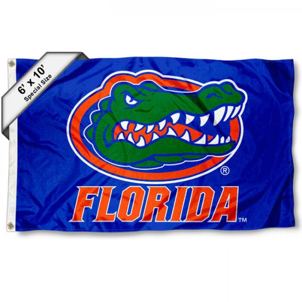 University of Florida 6'x10' Flag measures 6x10 feet, is made of thick poly, has quadruple-stitched fly ends, and University of Florida logos are screen printed into the University of Florida 6'x10' Flag. This University of Florida 6'x10' Flag is officially licensed by and the NCAA.