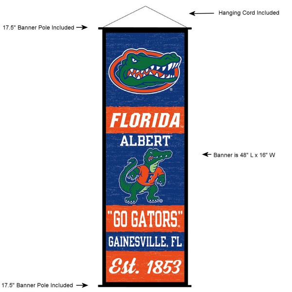 "This ""ready to hang"" University of Florida Decor and Banner is made of polyester material, measures a large 17.5"" x 48"", offers screen printed athletic logos, and includes both top and bottom 3/4"" diameter plastic banner poles and hanging cord. Our University of Florida D�cor and Banner is Officially Licensed by the selected college and NCAA."