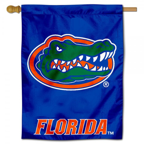 "University of Florida Decorative Flag is constructed of polyester material, is a vertical house flag, measures 30""x40"", offers screen printed athletic insignias, and has a top pole sleeve to hang vertically. Our University of Florida Decorative Flag is Officially Licensed by University of Florida and NCAA."