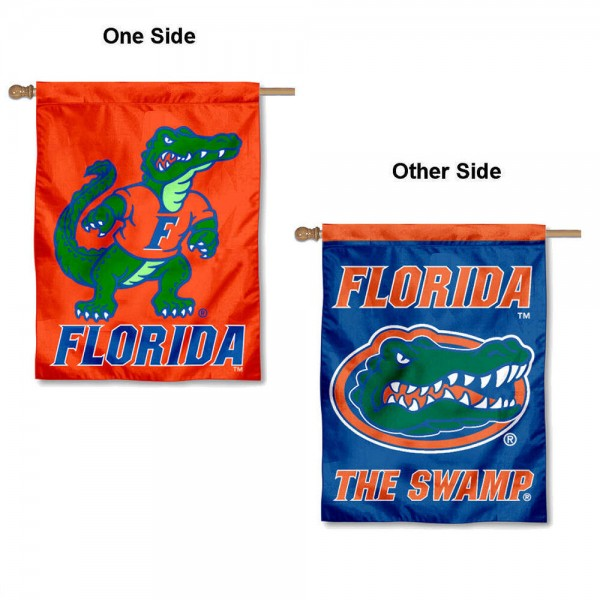University of Florida Double Logo House Flag is a vertical house flag which measures 30x40 inches, is made of 2 ply 100% polyester, offers dye sublimated NCAA team insignias, and has a top pole sleeve to hang vertically. Our University of Florida Double Logo House Flag is officially licensed by the selected university and the NCAA.