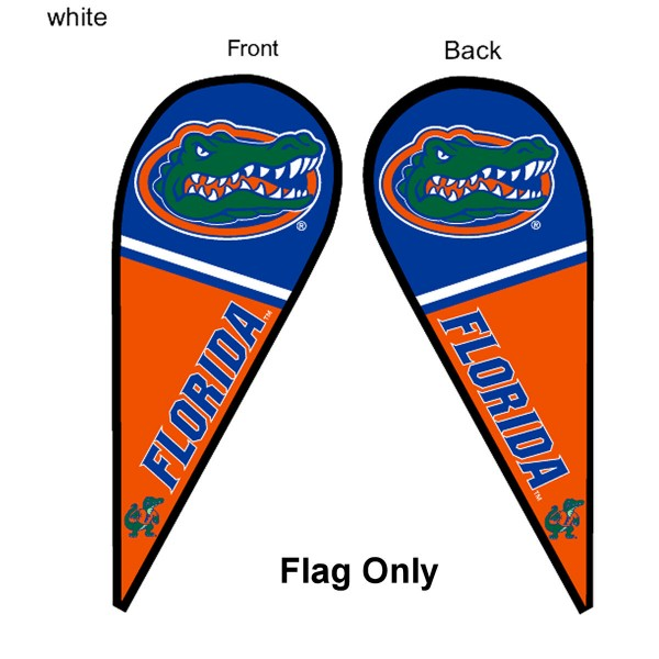 University of Florida Feather Flag is 9 feet by 3 feet and is a tall 10' when fully assembled. The feather flag is made of thick polyester and is readable and viewable on both sides. The screen printed Florida Gators double sided logos are NCAA Officially Licensed and is Team and University approved.