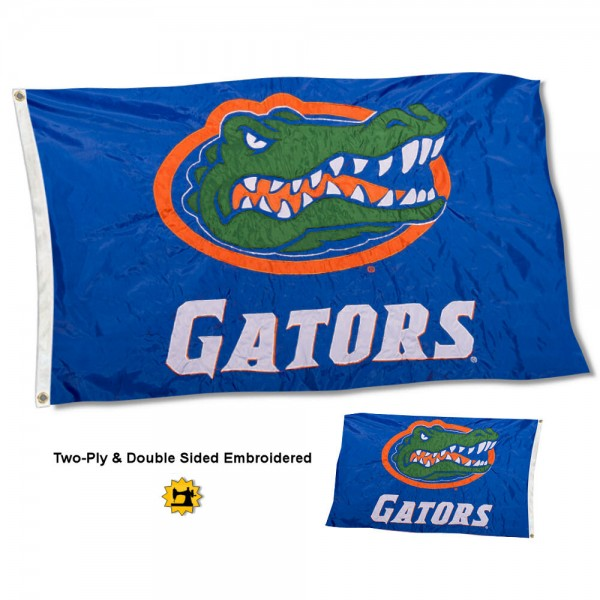 University of Florida Flag measures 3'x5' in size, is made of 2 layer embroidered 100% nylon, has quadruple stitched fly ends for durability, and is viewable and readable correctly on both sides. Our University of Florida Flag is officially licensed by the university, school, and the NCAA