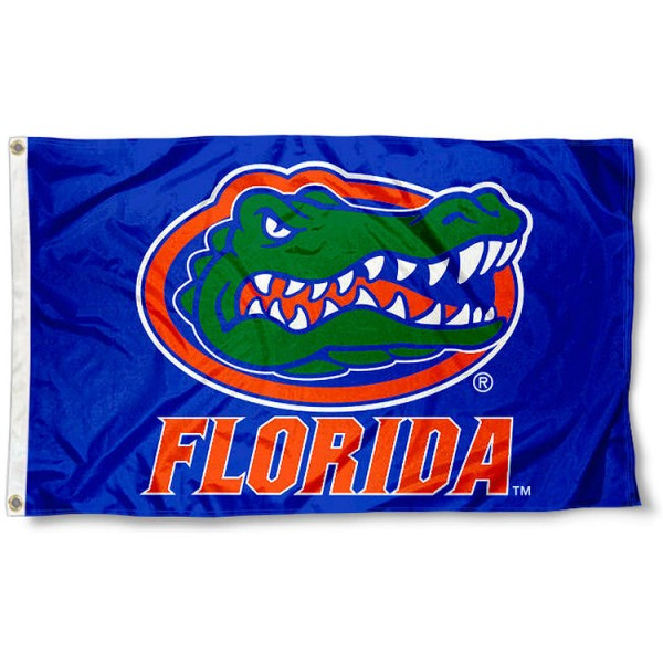 University of Florida Flag - Blue measures 3'x5', is made of 100% poly, has quadruple stitched sewing, two metal grommets, and has double sided University of Florida logos. Our University of Florida Flag - Blue is officially licensed by the selected university and the NCAA